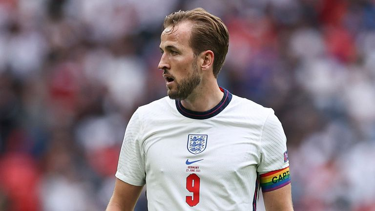 Harry Kane sports a rainbow captain's armband during the game against Germany Pic AP
