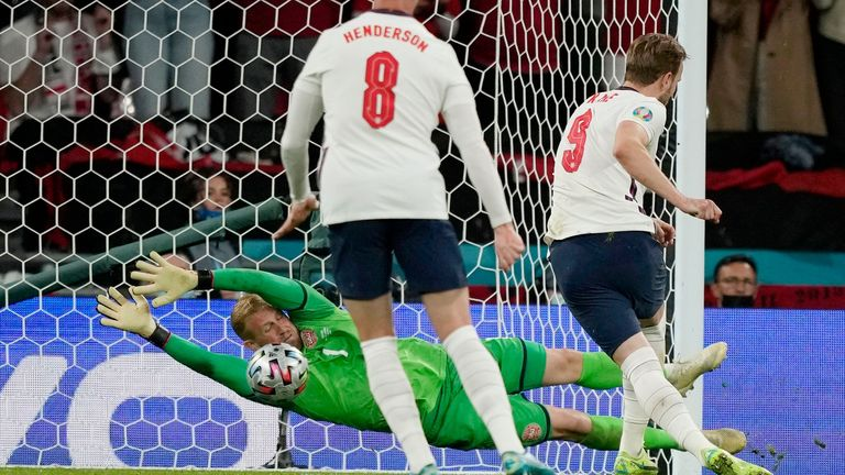 Kane's penalty was save by the Danish keeper