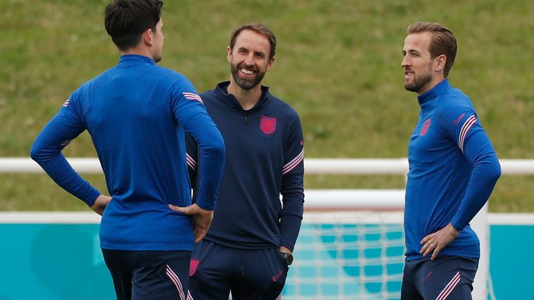 St. George's Park, Burton Upon Trent, Britain - July 2, 2021 England manager Gareth Southgate with Harry Maguire and Harry Kane during training