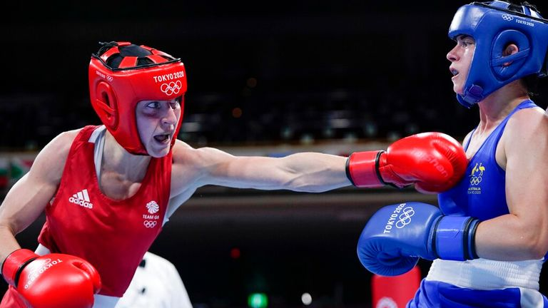 Karriss Artingstall beat Sky Nicolson in the women's featherweight quarter-final. Pic: AP