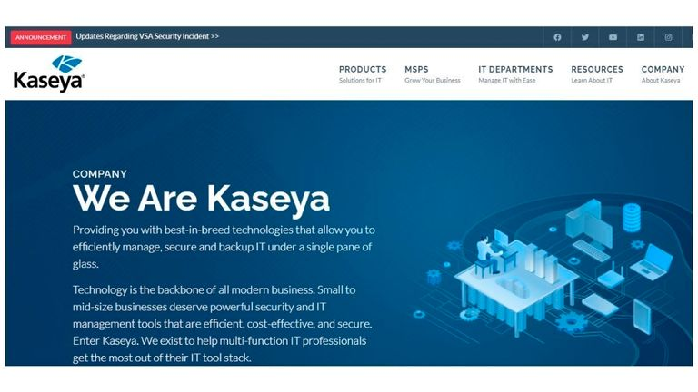 Kaseya's remote management software VSA was compromised by attackers. Pic: AP