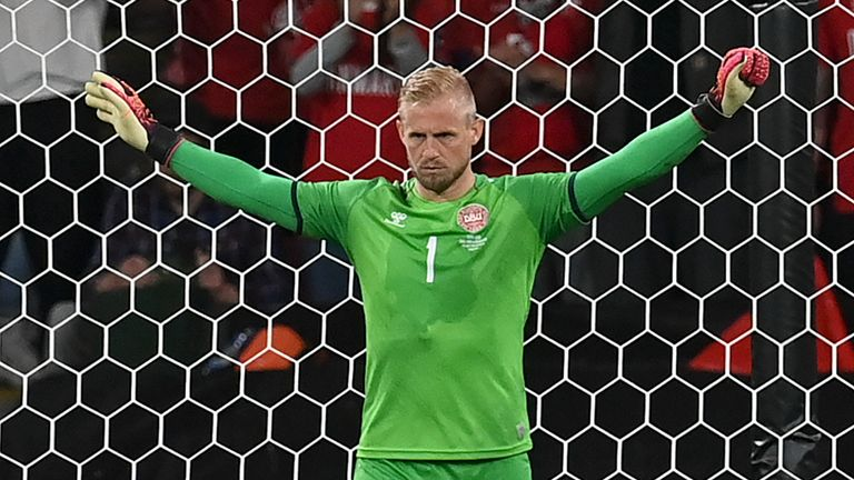 Denmark's keeper Kasper Schmeichel prepares for England's Harry Kane to take a penalty during the Euro 2020 semi-final match. Pic: AP