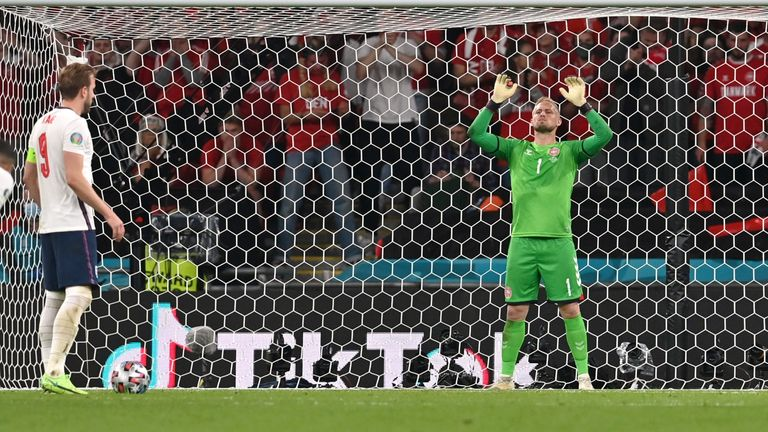Harry Kane prepares to take a penalty against Denmark's Kasper Schmeichel