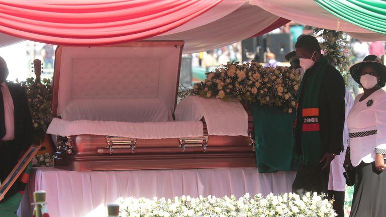 Zambian President Edgar Lungu pays his last respects to Kenneth Kaunda on Friday. Pic: AP