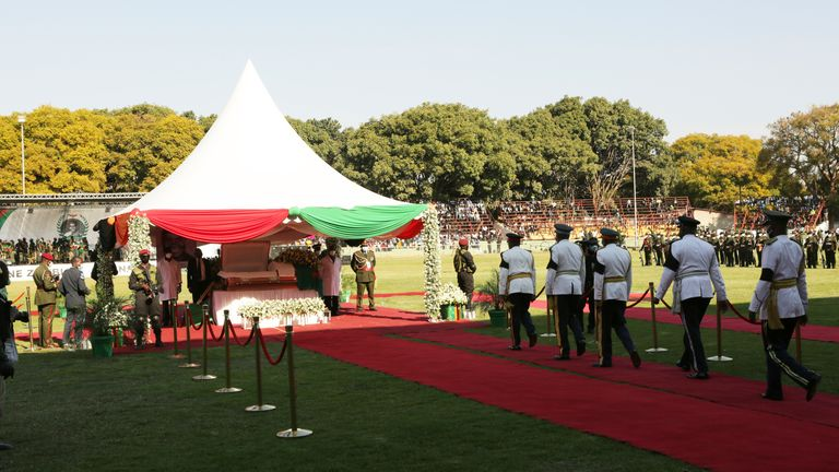 Zambian Service Chiefs pay their last respects. Pic: AP