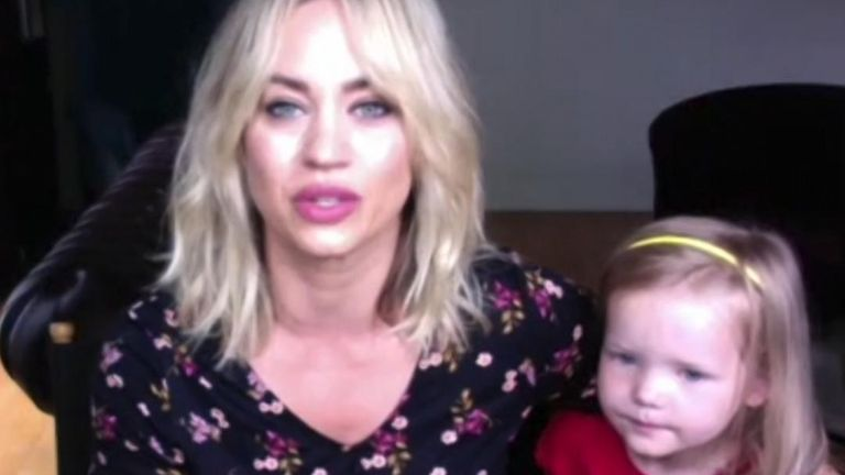 Pussycat Doll Kimberley Wyatt interrupted by daughter during interview
