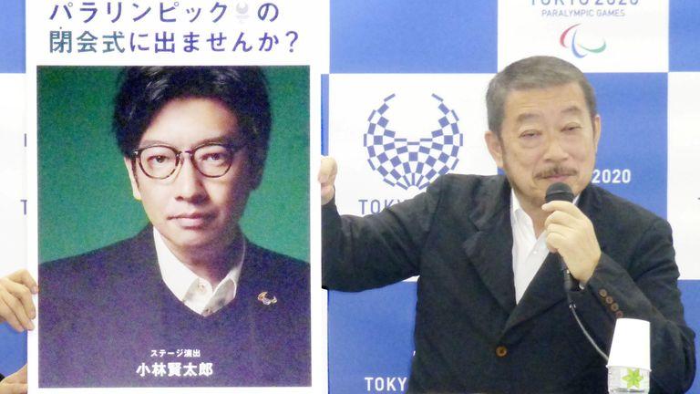 Hiroshi Sasaki, Tokyo 2020 Paralympic Games executive creative director, displays a portrait of Olympics opening ceremony show director Kentaro Kobayashi in December 2019. Pic: Kyodo