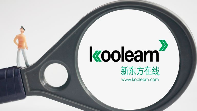 View of a logo of online educator Koolearn Technology Holding Ltd, a subsidiary of New Oriental Education and Technology Group Inc., in Tangyin county, Anyang city, central China's Henan province, 6 April 2015. Pic: AP