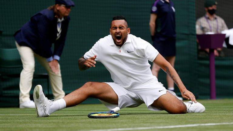 Tennis - Wimbledon - All England Lawn Tennis and Croquet Club, London, Britain - June 30, 2021 Australia's Nick Kyrgios reacts during his first round match against France's Ugo Humbert REUTERS/Peter Nicholls TPX IMAGES OF THE DAY