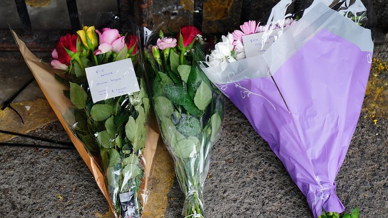 Flowers left near to the scene in Lambeth, south London, where a 16-year-old boy died after being stabbed on Monday evening. Picture date: Tuesday July 6, 2021.