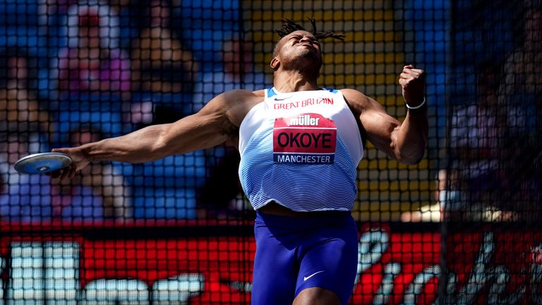 Lawrence Okoye in action during the 2021 British Athletics Championship