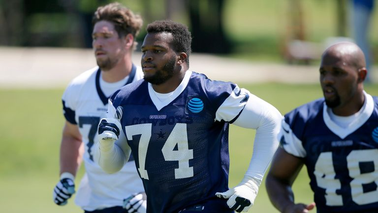 Okoye (centre) pictured training with the Dallas Cowboys in 2016. Pic: AP