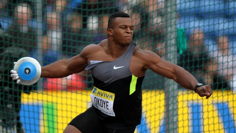 Okoye competes in the discus in 2012