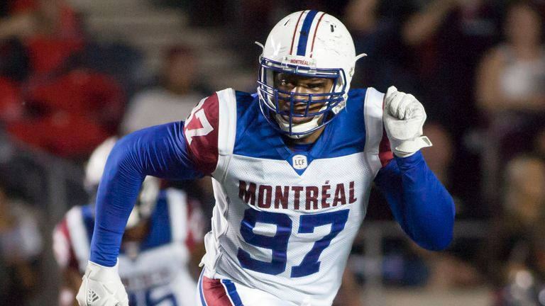 Lawrence Okoye playing for the Montreal Alouettes in 2018. Pic: AP
