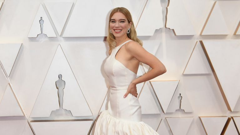 Lea Seydoux arrives at the Oscars on Sunday, Feb. 9, 2020, at the Dolby Theatre in Los Angeles. (Photo by Richard Shotwell/Invision/AP)