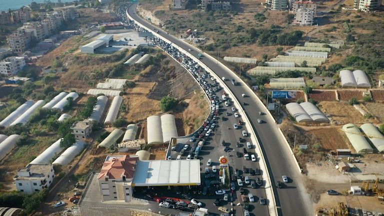 An aerial view of the queue for petrol