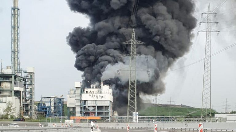 Smoke billows following an explosion in Leverkusen, Germany. Pic: Reuters