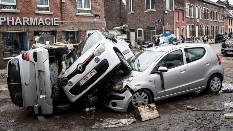 Cars were also destroyed in Liege. Pic: Associated Press