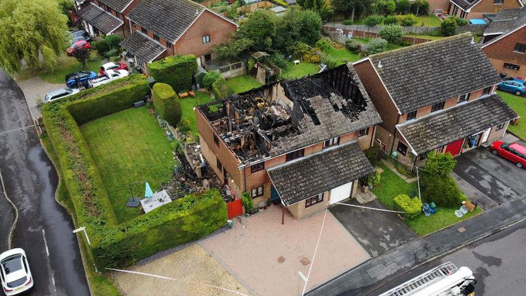 The semi-detached houses had their rooves burnt off by the lightning. Pic: Jez Rolfe Photography