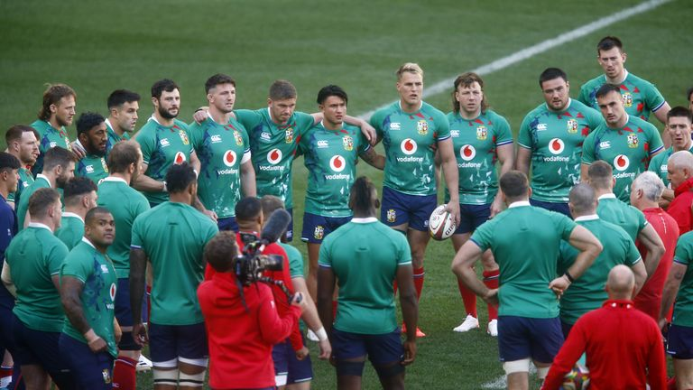 The British & Irish Lions' huddle during the captains run at the Cape Town Stadium, Cape Town, South Africa. Picture date: Friday July 23, 2021.