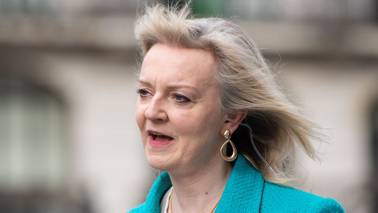 International Trade Secretary Liz Truss is interviewed for the Sophy Ridge on Sunday show outside BBC Broadcasting House