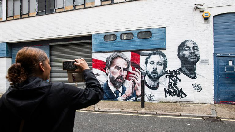 The artwork was unveiled on Tuesday at Vinegar Yard in central London