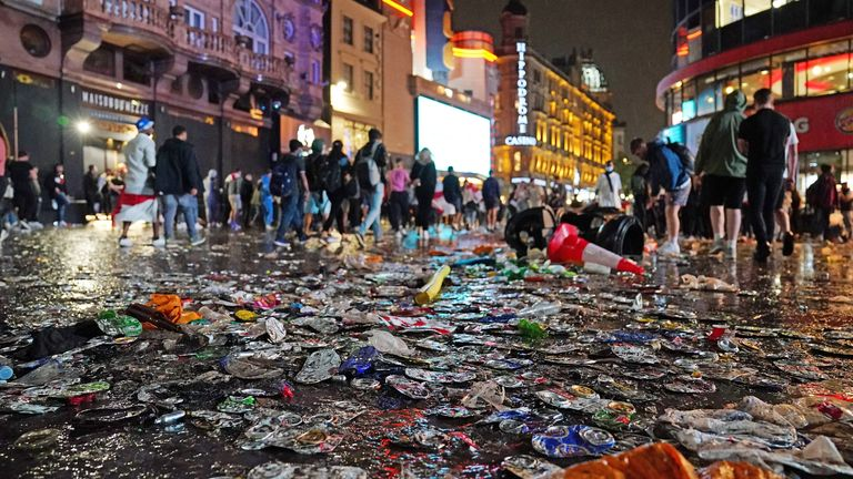 The scene in central London after England lost the Euro 2020 final on penalties to Italy