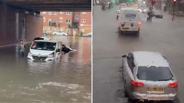 Parts of London were hit by flash flooding on Monday afternoon. Pic: @robwatkins/@CaptTamagochi