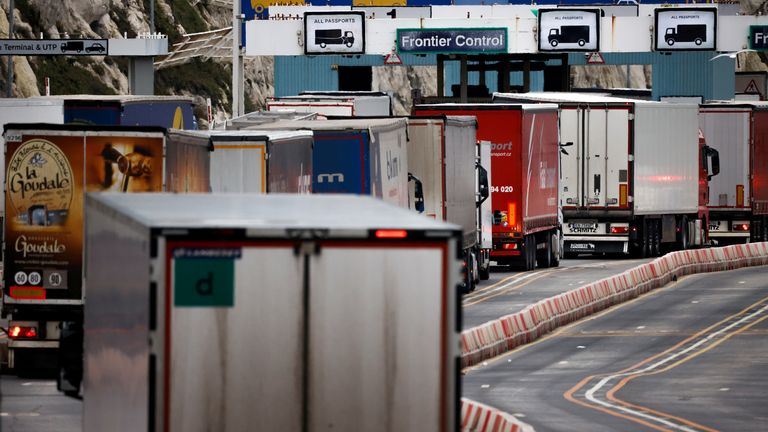 Lorries queue in at the border control of the Port of Dover in Dover