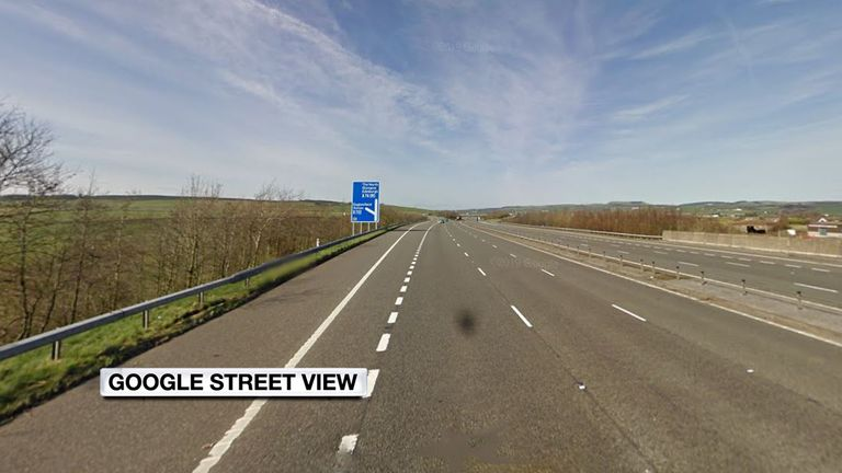The collision happened at junction 20 of the M74. Pic: Google Street View