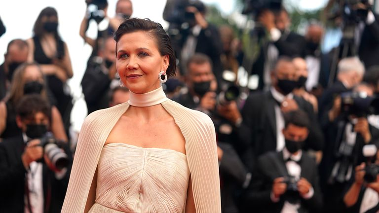 Maggie Gyllenhaal at the premiere of Annette and the opening ceremony of the 74th international film festival, Cannes, in July 2021. Pic: AP