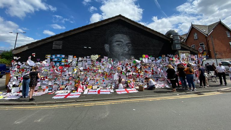 Thousands of notes have appeared on the mural since the match on Sunday
