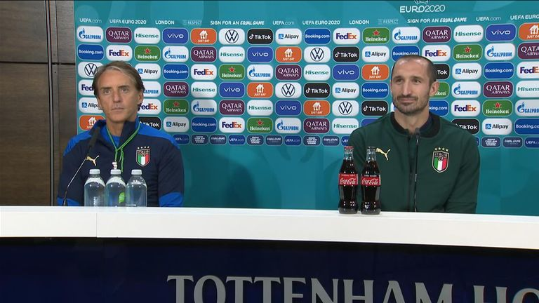 Roberto Mancini and Giorgio Chiellini answers questions at press conference ahead of Euros 2020 final