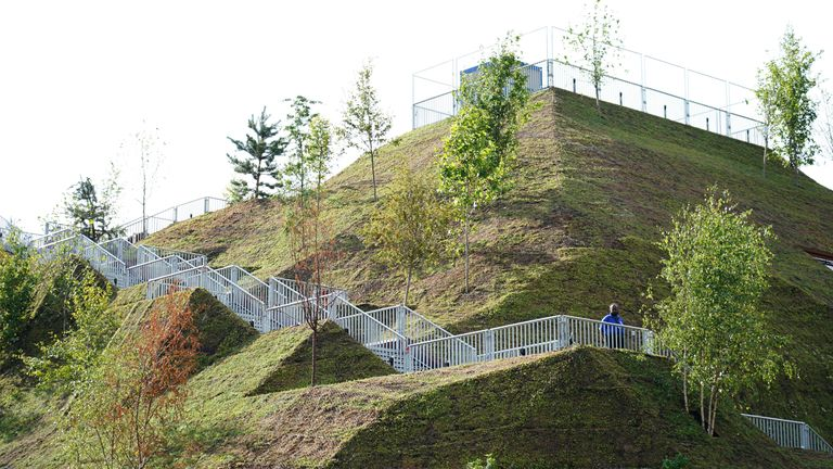 The summit of the new 25-metre artificial mound has been built on a scaffolding base