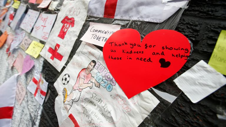 One of the messages left on the Marcus Rashford mural