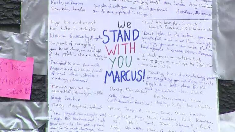 'We stand with you Marcus'. A message of support for the England man