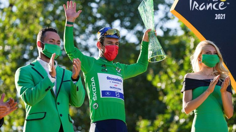 Mark Cavendish pictured wearing the best sprinter's green jersey. Image: AP