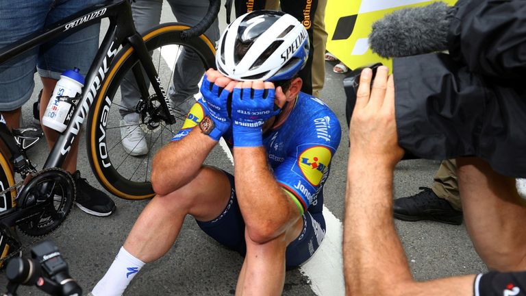 Cycling - Tour de France - Stage 4 - Redon to Fougeres - France - June 29, 2021 Deceuninck–Quick-Step rider Mark Cavendish of Britain celebrates after winning stage 4 Pool via REUTERS/Tim De Waele TPX IMAGES OF THE DAY