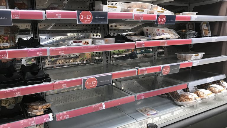 Empty shelves at a Marks & Spencer's store on the Lisburn Road in Belfast, with retailers 'experiencing some disruption after Brexit' and Marks and Spencer has temporarily withdrawn a small proportion of product lines to ensure its delivery lorries are not turned away at ports.