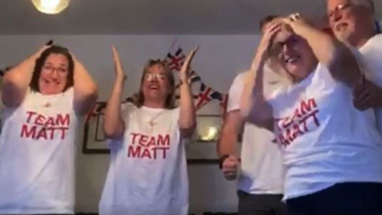 Matt Richard's family react as he wins Olympic gold as part of the 200m freestyle relay