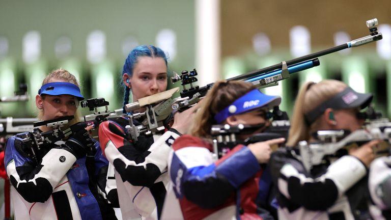 Tokyo 2020 Olympics - Shooting - Women's 10m Air Rifle - Qualification - Asaka Shooting Range, Tokyo, Japan – July 24, 2021. Alison Weisz of the United States and Seonaid McIntosh of Britain