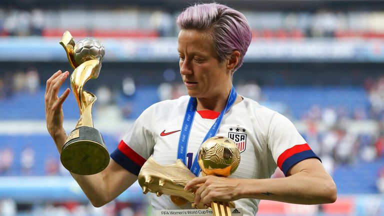 Team USA captain Megan Rapinoe at the World Cup in 2019. Pic: AP
