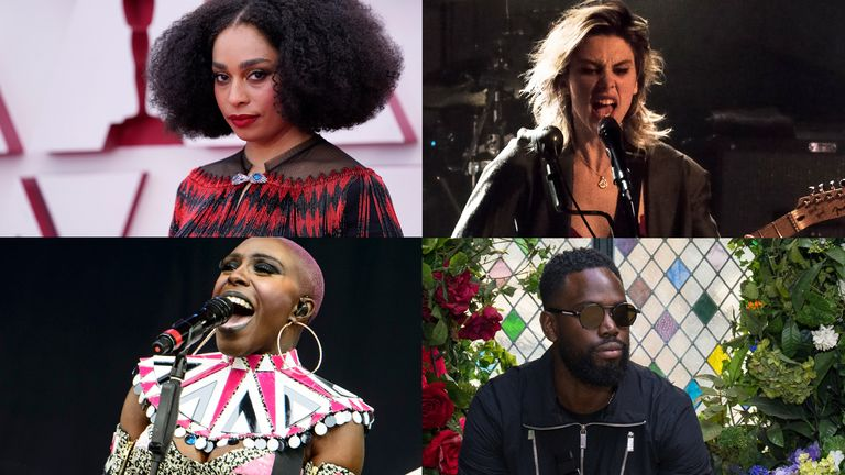 Mercury Prize 2021 nominees, clockwise from top left: Celeste, Wolf Alice, Ghetts and Laura Mvula. Pics: AP / Robert E Klein/Invision/AP / PA