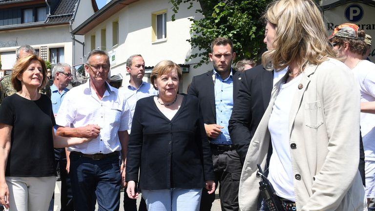 German Chancellor Angela Merkel has visited the Rhineland-Palatinate region