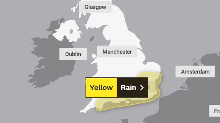 The weather warning covers a big area of southern England. Pic: Met Office