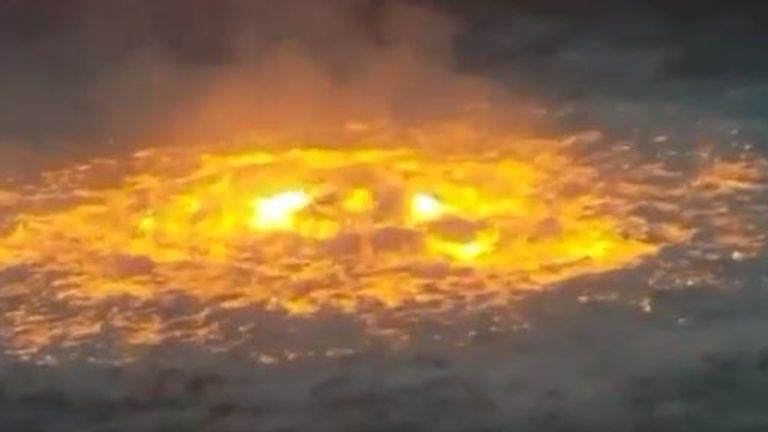 A fire from an oil platform off Mexico. Pic: Manuel Lopez San Martin