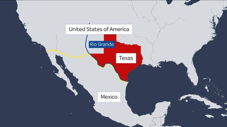 Carte des États-Unis et du Mexique montrant le Rio Grande