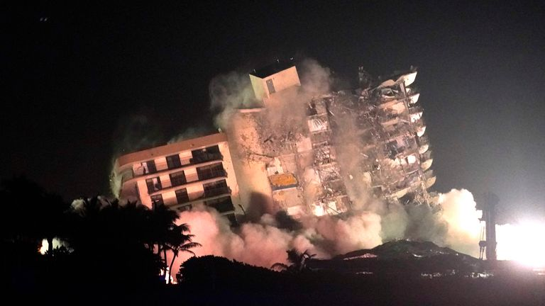 There were fears that the remaining section of the building posed a threat to search and rescue teams. Pic AP