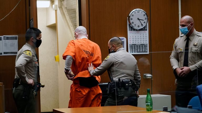 Serial killer Michael Thomas Gargiulo is taken away by sheriff deputies after Los Angeles Superior Court Judge Larry P. Fidler sentenced to death. Pic: Associated Press