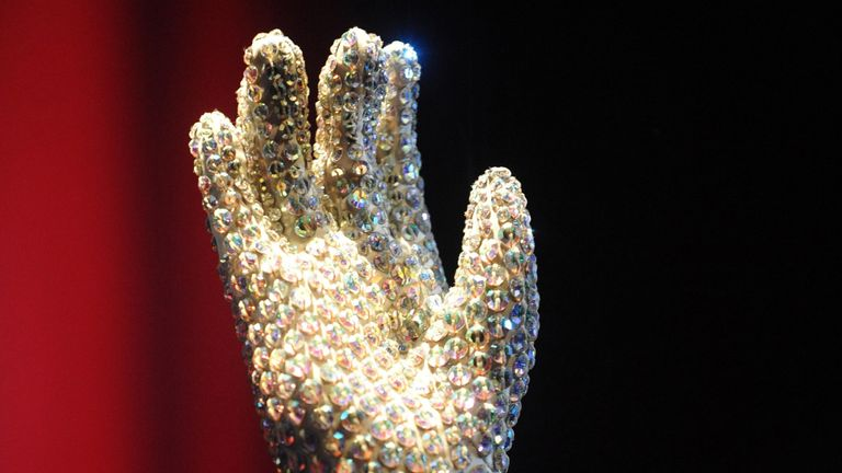 One of the famous gloves that Michael Jackson wore to the 1983 Grammy Awards where he performed Billie Jean, on display at Michael Jackson: The Official Exhibition at the O2 in London.